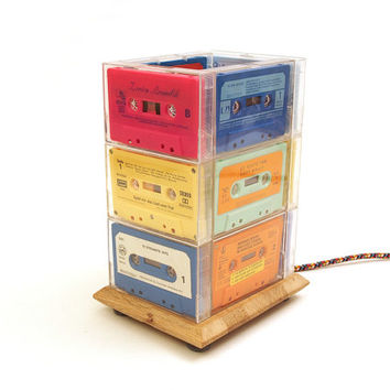 Table Lamp upcycled from vintage colour cassette tapes, wooden base and woven fabric cable.