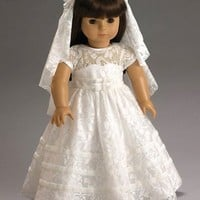 """Wedding or Communion White Lace Dress and Veil for 18"""" American Girl Dolls"""