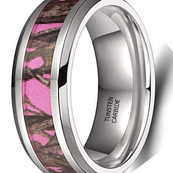 CERTIFIED 8mm Pink Camo High Polished Beveled Edge Camouflage Wedding Band
