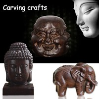 Wooden Carving Boutique Decor Blessing Buddha Arts and Crafts Statue Home Decoration Lucky Gifts