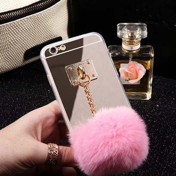 ONETOW 2015 Newest Mirror Cute Fur Ball Tassels Phone Cases Cover For iphone 6 6S 4.7 inch Soft case ASJK1239