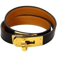 Hermes Black and Gold Kelly Double Tour Bracelet Sz M