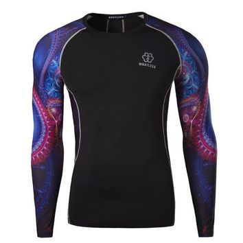 ESBON5L Hot Sale Stylish Abstract Print Design Men Gym Quick Dry Round-neck Long Sleeve T-shirts [6572773703]