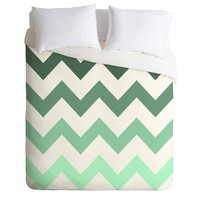 Shannon Clark Mint Chevron Stripes Duvet Cover