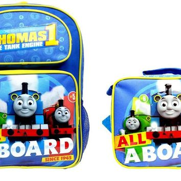 """ALL ABOARD"" Thomas the Train Engine 16"" Canvas School Backpack Plus Lunch Bag"