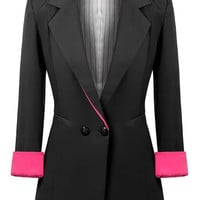 Black Notched Collar Cuff Sleeve Blazer