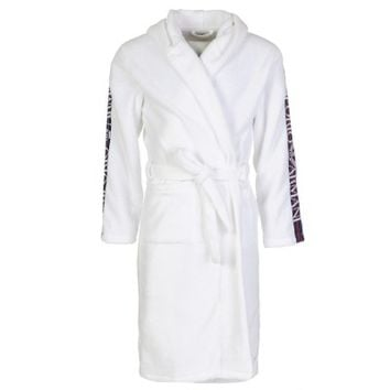 Emporio Armani White Logo Trim Hooded Bathrobe