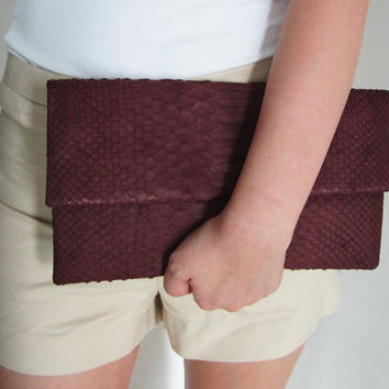 Berry Fold Over Python Snakeskin Leather Clutch