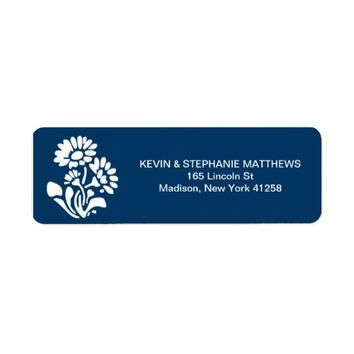 Classy Blue with Floral Accent Return Address Label