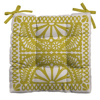 Natalie Baca Fiesta De Flores In Olive Outdoor Seat Cushion