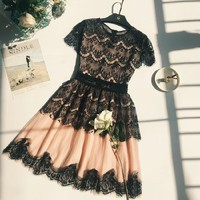 Fashion Temperament Short Sleeve Hollow Lace Mini Dress
