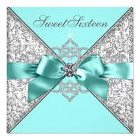 White Diamonds Teal Blue Sweet 16 Birthday Party 5.25x5.25 Square Paper Invitation Card