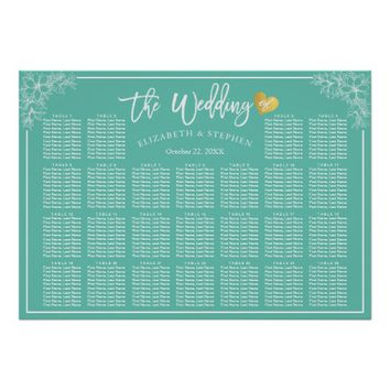 25 Tables Teal White Floral Wedding Seating Chart