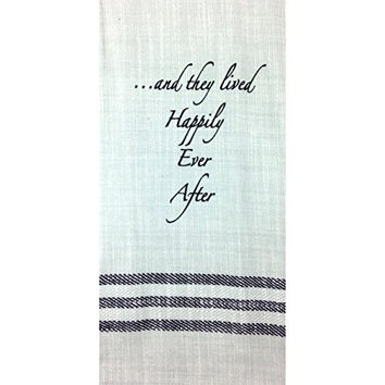 Vintage Flax Striped Kitchen Dish Towel with Attitude (... and they lived Happily Ever After)