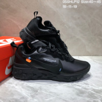 HCXX N649 UNDERCOVER x Nike Upcoming React Element Leather Big Logo Running Shoes All Black