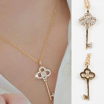 Women's Long Strip Key Crystal Pendants Necklaces
