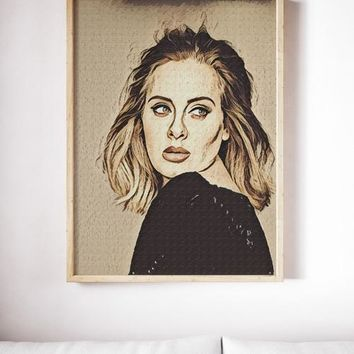 Adele Poster Adele Art Painting Print Canvas Print - Free Shipping
