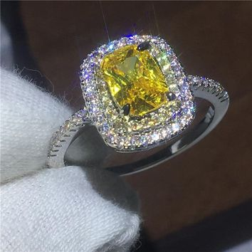 Female Anniversary ring cushion cut 2ct AAAAA Zircon Cz 925 sterling silver wedding band rings for women bridal Jewelry