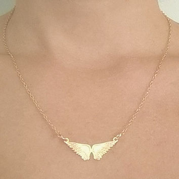 Angel wings necklace,Personalized Necklace - Custom Necklace - Gold Necklace - Personalized Jewelry - Personalized Bridesmaids gifts,wedding