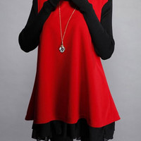 Red and Blue Color Block Long Sleeve Knitted Dress