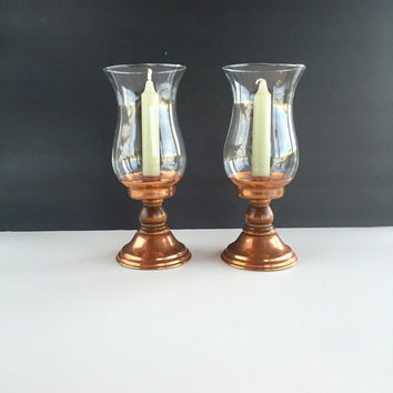 Pair of Vintage Coppercraft Guild Hurricane Lamp Candleholders