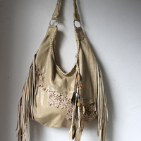 Ivory oatmeal fringed Romatic lace leather raw edge leather ivory leather bag wedding bag sweet smoke bag bag charm with leaves