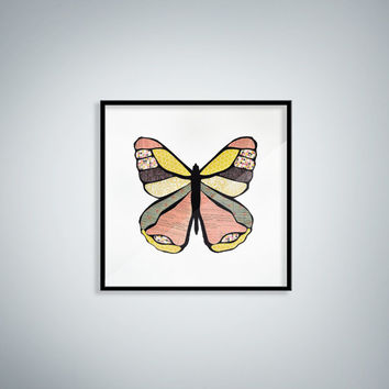 Framed Pink and Yellow Butterfly Wall Accent for Baby's Room / Nursery