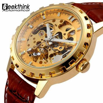 Vintage Luxury Gold Men Wristwatch Skeleton Clock Male Leather Strap Antique Steampunk Casual Automatic Mechanical Watches New