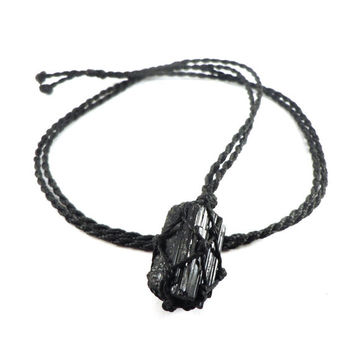 Tourmaline necklace, raw black tourmaline pendant, shield necklace, healing crystal, black crystals, surf jewelry, yogi gift, wrapmeacrystal