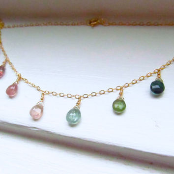 Watermelon tourmaline necklace briolettes gold pink green