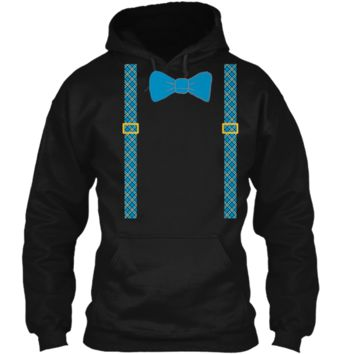 Easter T-Shirt with Bow Tie and Suspenders Pullover Hoodie 8 oz
