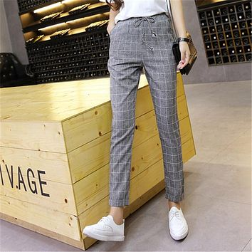Plaid Harem Pants Trousers New Spring Summer Loose Casual Drawstring Elastic Waist Pants Cotton Linen Pants dropshipping