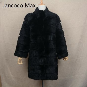 Jancoco Max 2017 New Winter Real Rabbit Fur Jacket Warm Soft Long Fur Coat Women Christmas Dress S1675