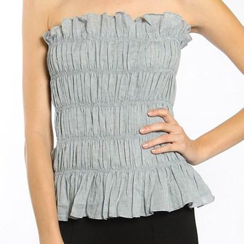 Boho Ruched Cotton Tube Top