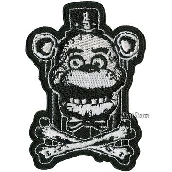 Licensed cool FIVE NIGHTS AT FREDDY'S PIZZA Crossbones Embroidered IRON ON Patch Badge FNAF