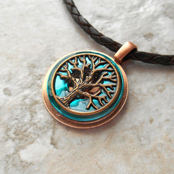 tree of life necklace: blue - mens necklace - mens jewelry - celtic jewelry - tree jewelry - boyfriend gift - leather cord - unique gift