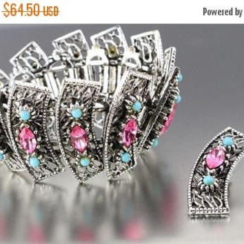 On Sale Vintage Pink Rhinestone Bracelet Earring 1950's 1960's Jewelry Set Demi Parure Collectible Mid Century Statement Rare Jewelry New Ol