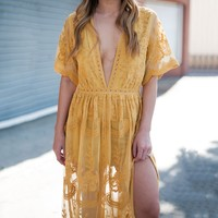 Wine & Dine Embroidered Maxi Dress in Mustard
