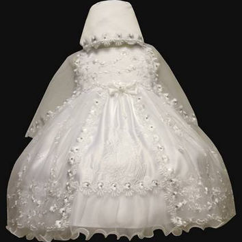 Baby Girl Toddler Christening Baptism Dress Gowns outfit set with bonnet /XS/S/M/L/XL/0-3M/3-6M/6-12M/12-18M/18-24M/XSMALL/SMALL/MEDIUM/LARGE/XL/2t/#5608