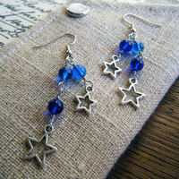 Starry Night Earrings Blue and Silver Winter Holiday Jewelry