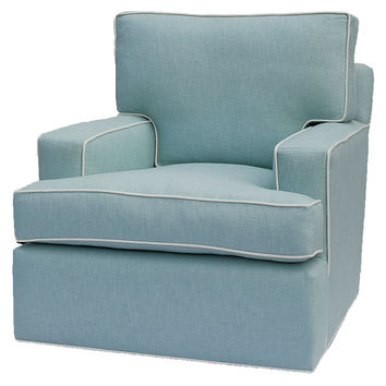 Barclay Butera, Manhattan Swivel Chair, Robin's-Egg Blue, Club Chairs