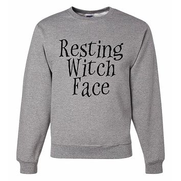 7 ate 9 Apparel Men's Witch Face Halloween Sweatshirt