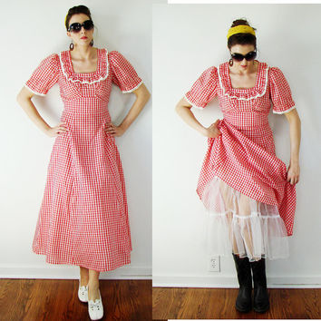 Vintage ROCKABILLY Dress Red & White Gingham Check w/Crinoline