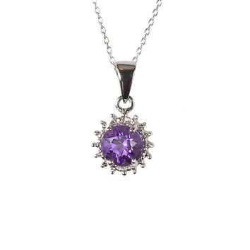 Sterling Silver Diamond and 6mm Round Amethyst Gemstone Pendant Necklace