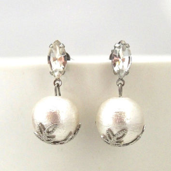 Classy Cotton Pearl Earrings with Crystals, Titanium Earrings for Sensitive Ears, Wedding Earrings, Bridesmaid Earrings, Bridal Earrings