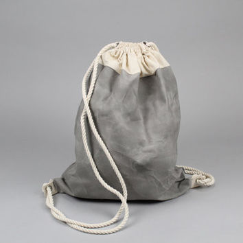 The Daniel Drawstring Backpack // Grey and Natural Waxed Canvas Two-Tone Backpack/Tote with Rope Drawstring