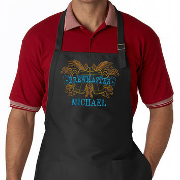 Brewmaster Personalized EMBROIDERED Men's Apron