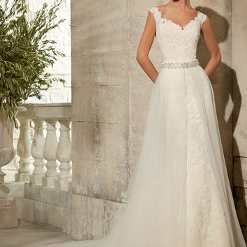 Mori Lee Tulle Overskirt with Beaded Waistband 11076