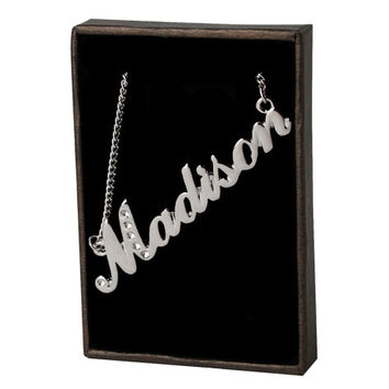 Name Necklace Madison - White Gold Plated 18ct Personalised Necklace with Swarovski Elements