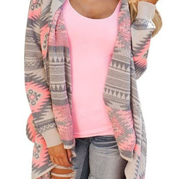 Geometric Print Band Sleeve Asymmetric Cardigan